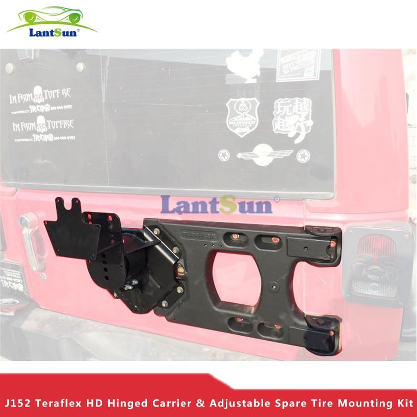 Set  J152 lantsun black aluminum rear Teraflex HD Hinged Carrier Adjustable Spare Tire Mounting Kit for jeep wrangler jk 07+ universal black 2 51mm polished aluminum fmic intercoolerpiping kit diy pipe length 600mm for jeep wrangler 97 01 ep lgtj51 600