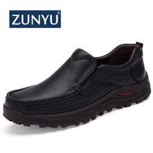 ZUNYU Autumn Winter Genuine Leather Shoes Men Footwear Thick Sole Mens Casual Shoes Male High Quality Cowhide Loafers Size 38-48