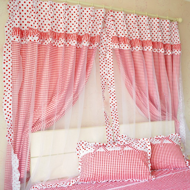 2014 New Cute Red Polka Dot Girls Room Curtains Elegant Red Gingham Print Bedroom  Curtains Modern
