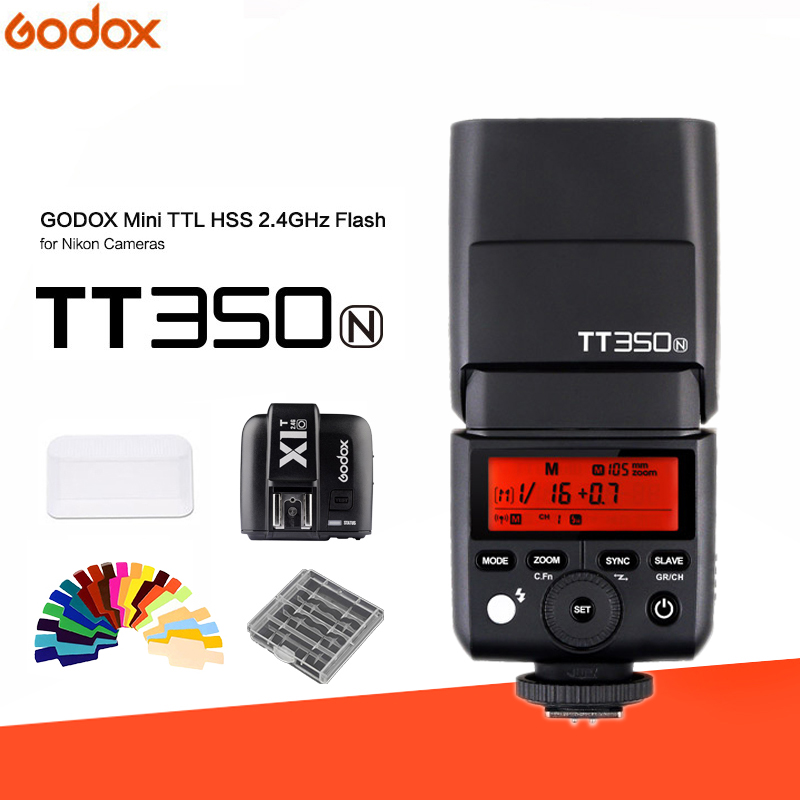 Godox TT350N 2.4G HSS 1/8000s TTL GN36 Flash Speedlite + X1T-N Wireless Trigger Transmitter for Nikon Camera godox v860iic v860iin v860iis x1t c x1t n x1t s hss 1 8000s gn60 ttl flash speedlite 2 4g transmission godox softbox filter