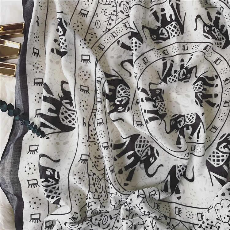 Новый Черный и белый слон хлопок моды шарфы женщина чешские приморский праздник солнцезащитный крем пляж леди платок Женский пашмины