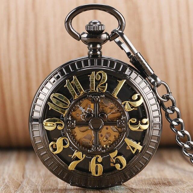 487a21da03a Esqueleto do vintage Elegante Relógio de Bolso Steampunk Mecânico  Automático Preto Relógio Fob Cadeia Das Mulheres