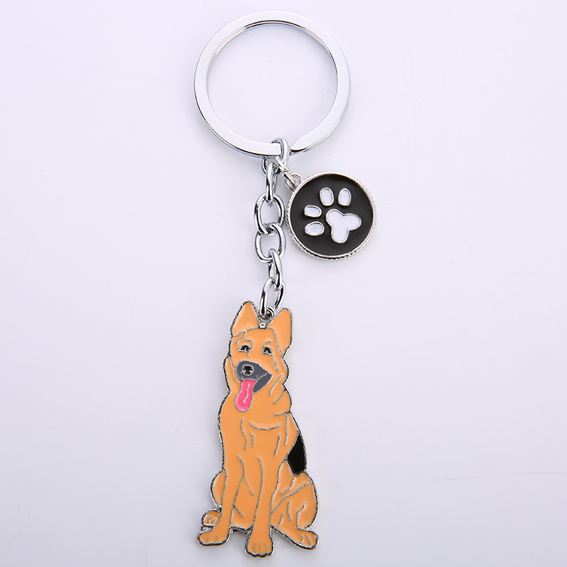 German Shepherd dog key chains for men women girls silver color metal alloy pet dog car bag charm male female keychain key ring