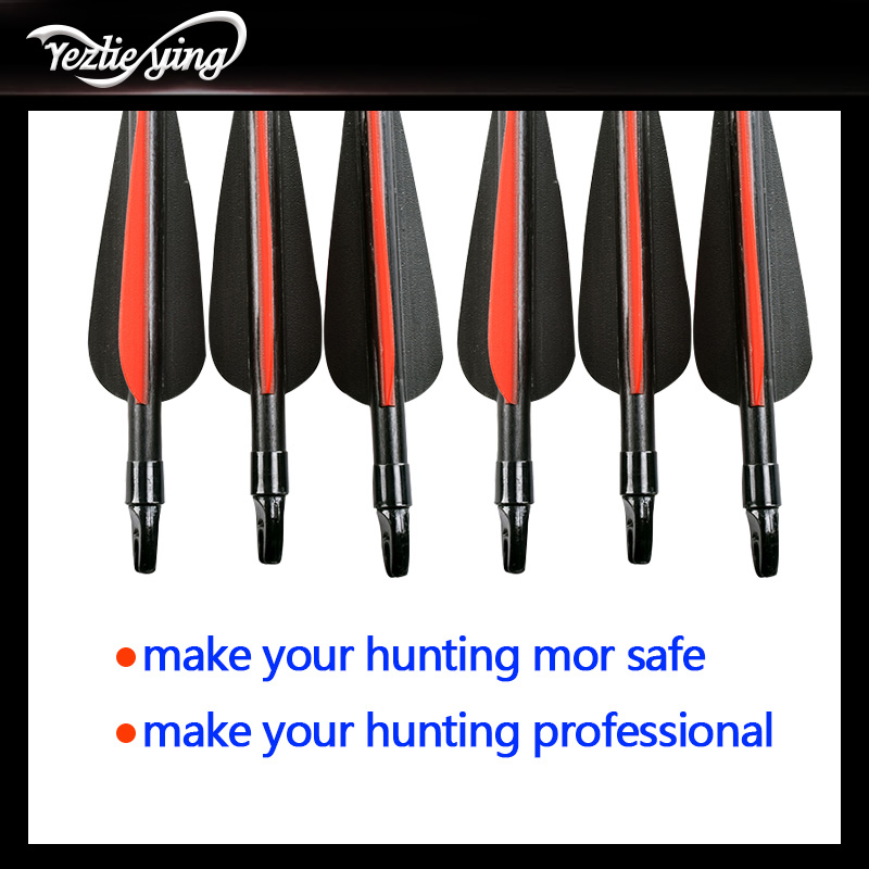 12pcs 30 inch glass arrows replaceable arrowhead Red and black feather hunting repetitive bow shooting target practice