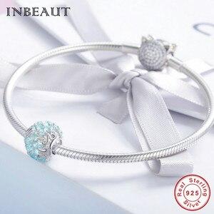 Image 4 - INBEAUT 100% Plata de Ley 925 auténtica OCéANO AZUL agua copo de nieve tallada perlas encanto marca pulsera de joyería