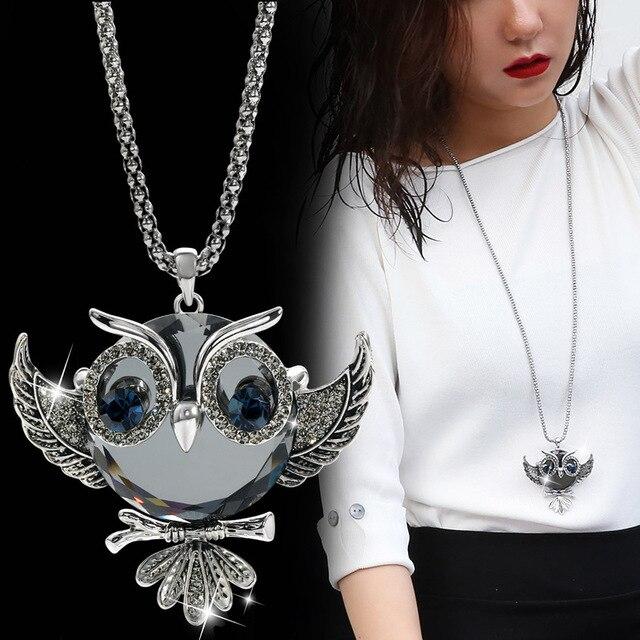 1b643d0d4c1e DuoTang clásico búho Collar de plata de Color larga palomitas cadena Animal  Crystal Rhinestone COLLAR COLGANTE para las mujeres regalo joyería
