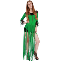 Rompers Womens Jumpsuit Green Long Sleeve Short Bodysuit Lace Patchwork Playsuit with Tassel Combinaison Femme S XXL