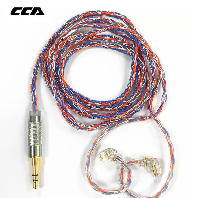 CCA C2 8 rdzeń pomarańczowy niebieski Braded srebrny CableUpgraded kabel warstwowy słuchawkowy uaktualnienie dla KB10 KB06 A10 C10 CA4 KZ AS16 AS10 AS12