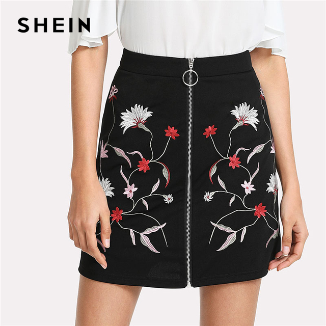 a33745dee106 SHEIN Botanical Flower Embroidery Zipper Up Skirt Black Mid Waist Ring  A-line Skirt 2018 Spring Elegant Women Mini Skirt