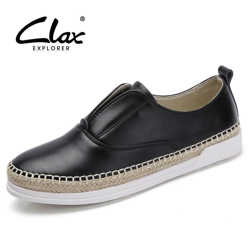 ФОТО Clax Women Loafer Fashion Spring Autumn Korea Women's Flat shoe Slip On Lady Casual Leather Shoe Braided Design Elegant Shoes