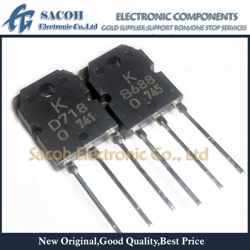 Free Shipping 10Pairs  2SB688 B688 + 2SD718 Or D718 KTB688 + KTD718 TO-3P 8A 120V Silicon PNP Power Transistor
