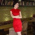 Nova Chegada do Estilo Chinês Do Vintage Mulheres Mini Qipao Cheongsam Algodão verão novidade imprimir sexy dress s m l xl xxl F081238
