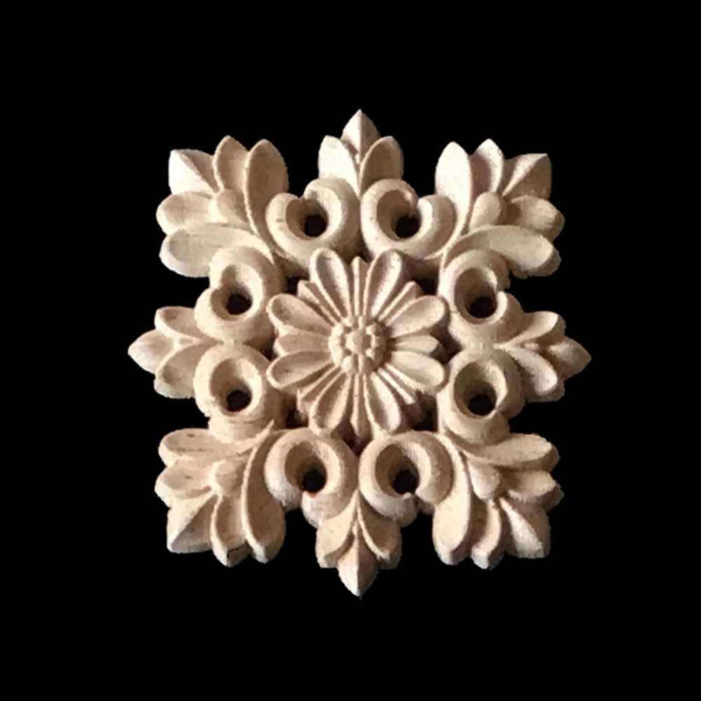6/8/10CM Wood Appliques 10PCS Wood Carving Frame for Furniture Cabinet Door Bed Home Decor Wooden Figurine Flower Pattern Carve