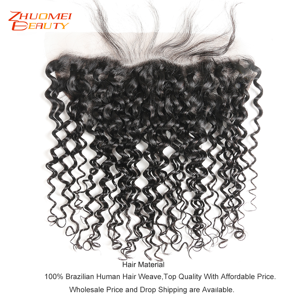 Brazilian Water Wave Lace Frontal Closure 8 20 Free Middle Part Ear to Ear Human Hair