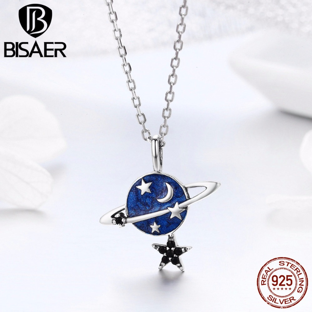 BISAER Hot Sale 100% 925 Sterling Silver Sparkling Moon and Star Sky Women Pendant Necklaces Sterling Silver Jewelry S925 ECN230