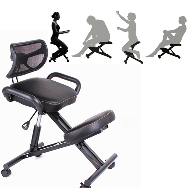 Ergonomically Designed Knee Chair With Back And Handle Office Kneeling Ergonomic Posture Leather Black