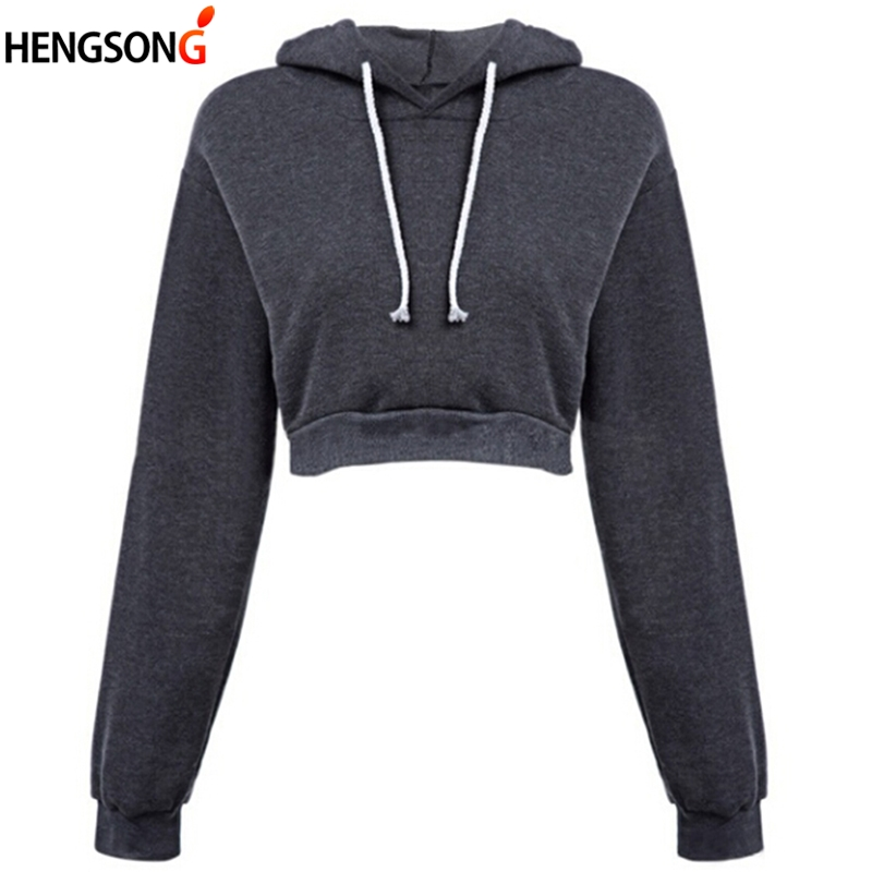 Fashion Women's Crop Hoodies Hooded Sweatshirts Grey Long Sleeve Short Sweatshirt 2019 New Female Pullovers Tops