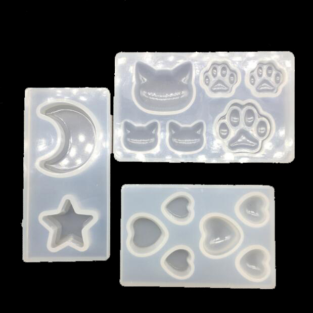 3 Style Silicon Molds For Epoxy Resin Crystal Cat Bear Paw Star Moon Heart Shape Mold Making Jewelry Pendant Tools Art Making