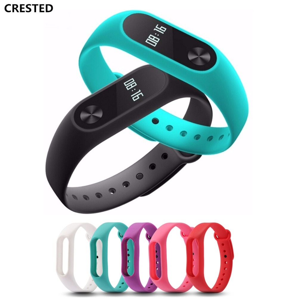 CRESTED Silicone Strap For 2 Xiaomi Mi band 2 Miband Wristband Wrist watchband Bracelet Replacement watchstrap belt Accessories miband 2 silicone wrist strap bracelet double color replacement watchband for original xiaomi mi band 2 wristbands belt rubber