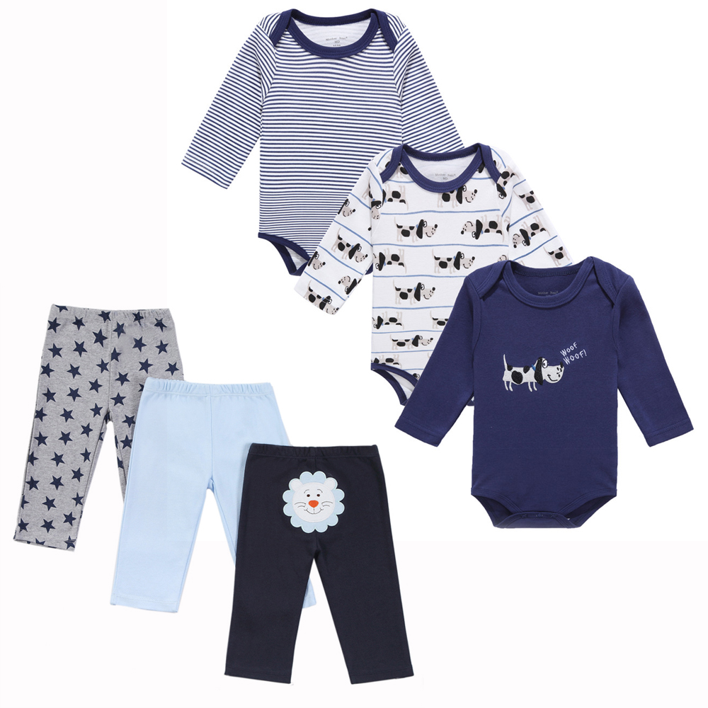 6pcs baby boys clothes sets long sleeve bodysuits Baby clothing designers