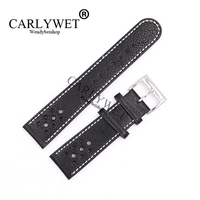 CARLYWET 22mm Wholesale Black Real Leather Handmade Replacement Thick Vintage Wrist Watch Band For CITIZEN Omega