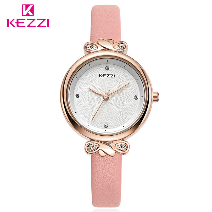 KEZZI Japan and South Korea Fashion Style Women Fresher Quartz Watches Rhinestones Dials,Leather Strap Simple Nice Gift Watch south korea creative concept fashion personality women men couple watches new trend minimalist gift watches