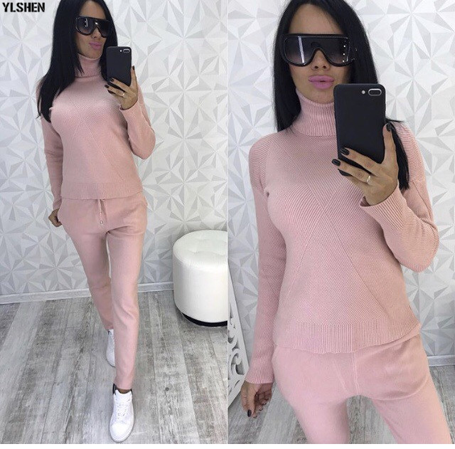 2 Two Piece Set Sweater Women Autumn Winter Knitted Tracksuit Turtleneck Sweaters Suit Outfits Knit Tops + Pants Matching Sets 03
