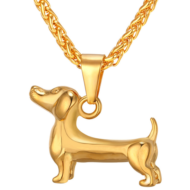 Gold/Black Color Dog Pendant Necklace For Men/Women Gift Sausage Dog Animal Stainless Steel Jewelry Wholesale GP264