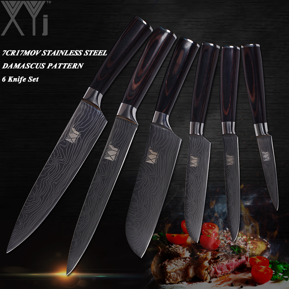 XYj Stainless Steel Kitchen Knives Set Paring Utility Santoku Slicing Chef Knife 7Cr17 Blade Pakka Wood Handle Cooking Knives