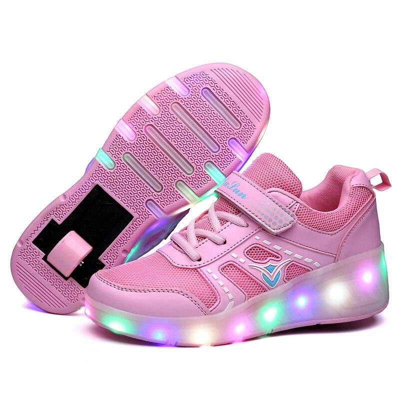9c3eac53cf5 Eur28 40    Sapatilhas com Rodas De Rolo Heelys Crianças Sapatos Meninos  tênis Luminosas sobre rodas buty Krasovki Iluminação led em Sapatos  esportivos de ...