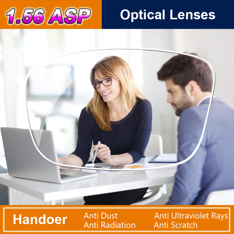 Handoer Anti-Radiation Protection Index 1.56 Optical Single Vision Lens HMC, EMI Aspheric Anti-UV Prescription Lenses,2Pcs