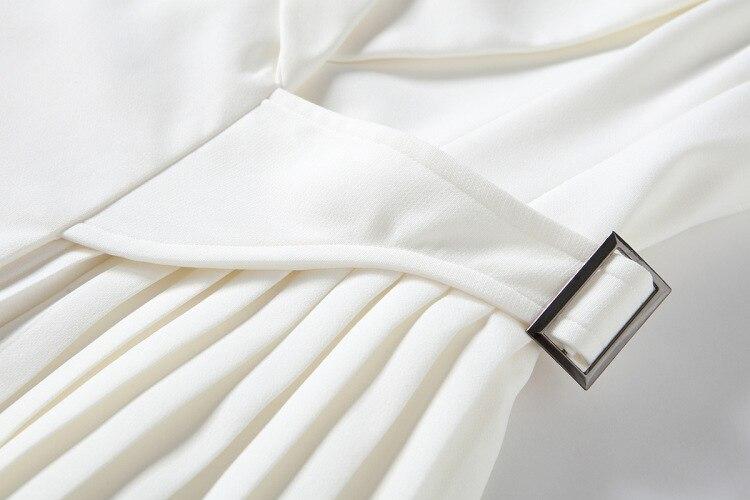 Bianco Donne Alta Pieghe Signora A Senza Lusso Pista Vestito Dell'ufficio Drappeggiato Femminile Carro Mini Armato Di Maniche Qualità 2018 Elegante Progettista Del Delle tFxBxRqS