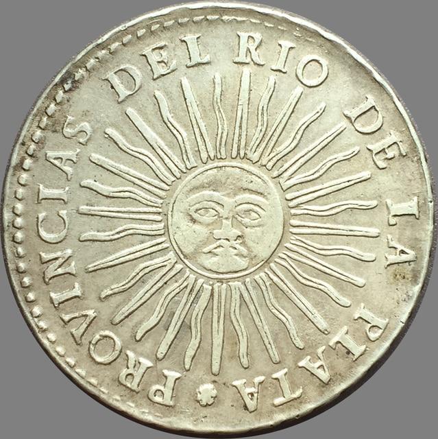 Argentina 1837 8 Reales Provincias Del Rio De La Plata 90 Silver Copy Coins