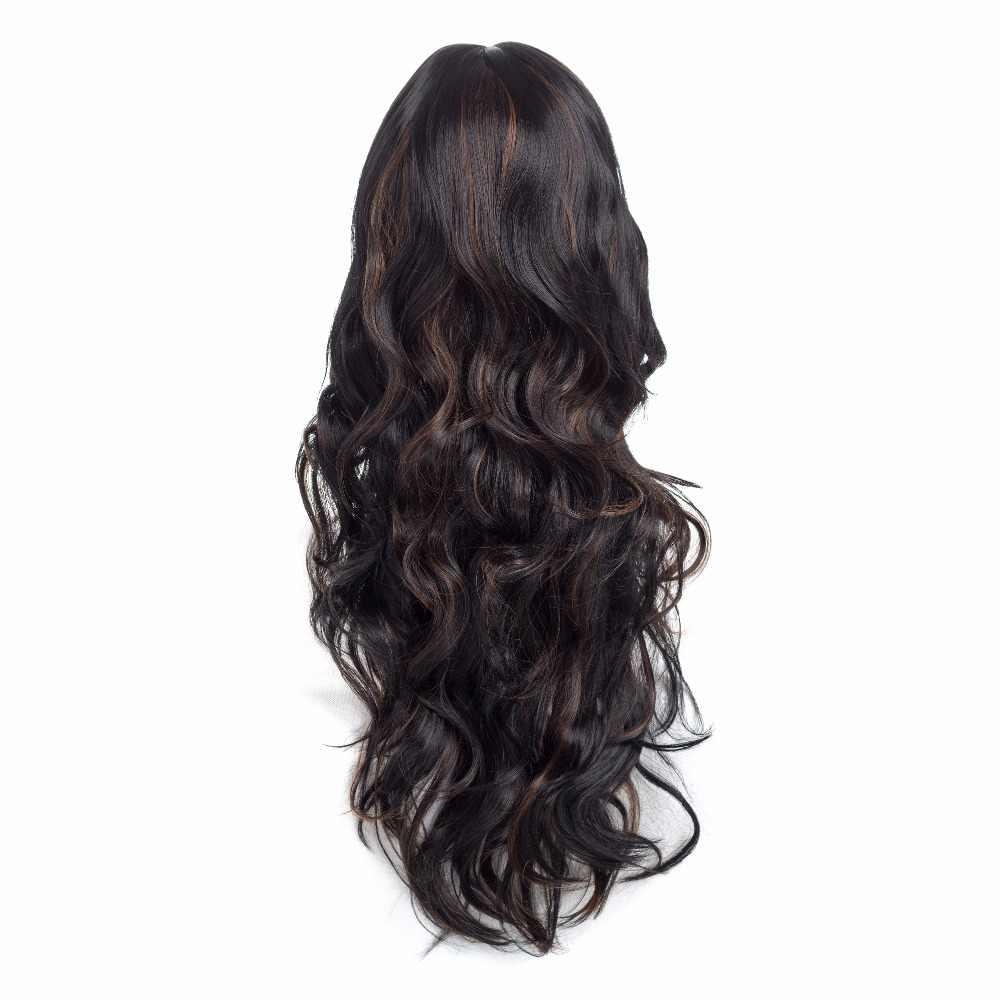 Amir lange Body Wave Zwart En Bruin Hittebestendige Haar Pre Geplukt Pruiken Met Bang Synthetisch Haar Cosplay pruik