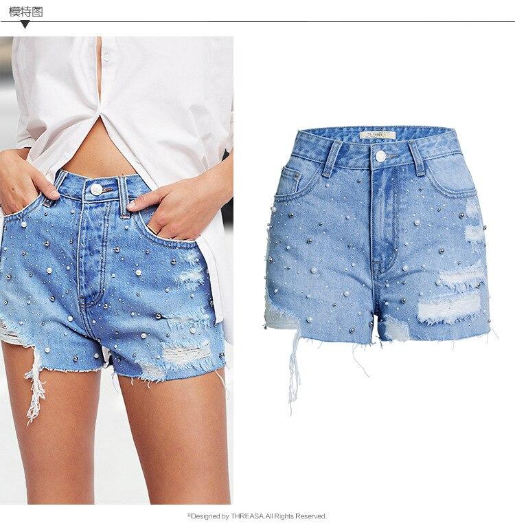 merican Appeal Summer blue  Women Short Jeans  Ripped crystal  Hot Denim shorts