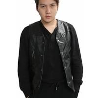 XCOSER Daryl Dixon Vest The Walking Dead Daryl Dixon Wings Leather Vest Black Adult Mens Fashion