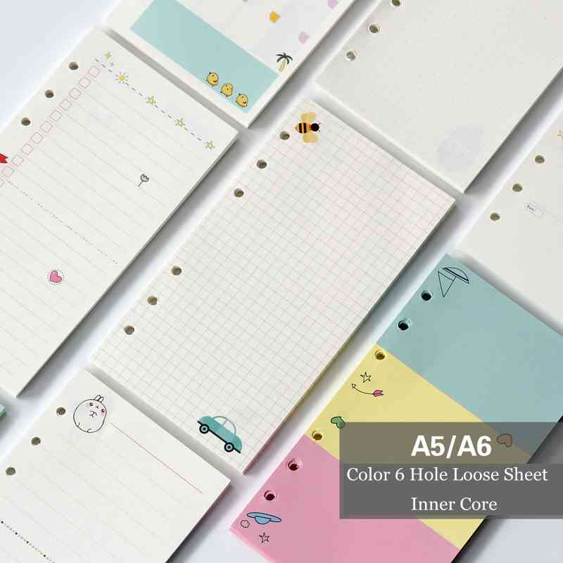 A5 A6 Six Hole Loose-Leaf Hand Account For The Core Color Inside The Page Core Card Cartoon Horizontal Grid Lattice Blank Inside ral k7 paint color page chip card brochure
