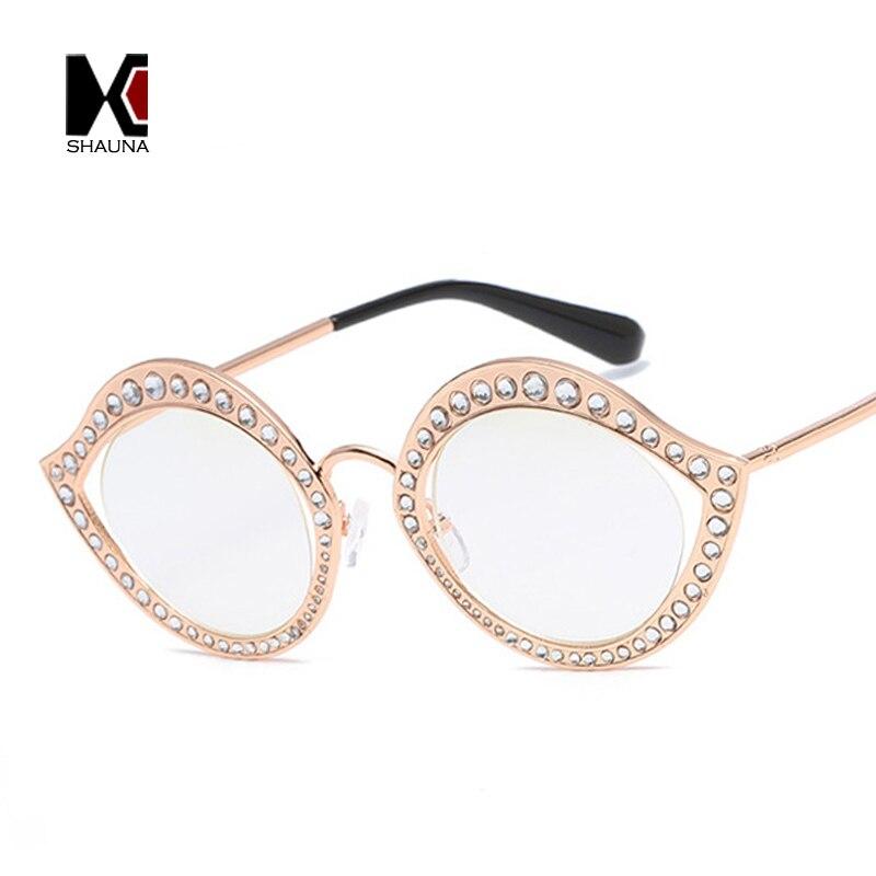 SHAUNA Fashion Eye Sharp Luxury Crystal Decoration Women Cat Eye Sunglasses Ladies Gradient/Clear Lens Eyeglasses