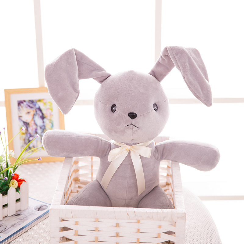 35cm grey cartoon stuffed plush rabbit toys with bowtie soft toy adjustable ears rabbit doll Christmas Gift for children friends stuffed toy