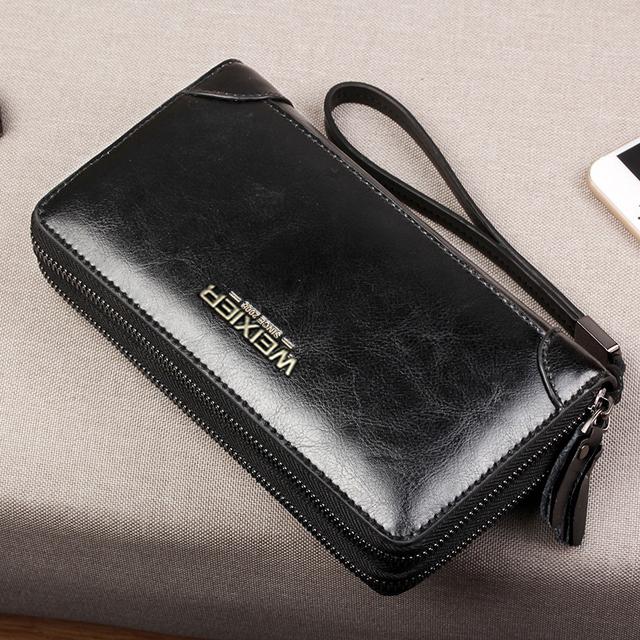 Brand Long Wallet Men Double Zipper Coin Pocket Purse Men Wallets Casual Business Card Holder Vintage Large Wallet Male Clutch