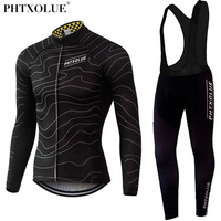 Phtxolue Winter Thermal Fleece Cycling Clothing Wear Bike MTB Jerseys Cycling Sets 2019 Men's Cycling Jersey Sets QY069