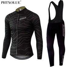 Phtxolue ensemble de cyclisme pour homme, tenue thermique en molleton, pour vtt, QY069
