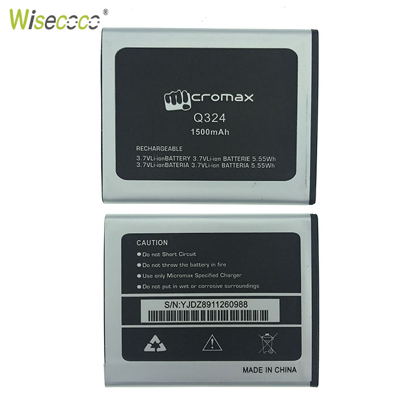 WISECOCO New Original 1500mAh Battery For Micromax Q324 Q 324 Smart Mobile phone In Stock With Tracking Number