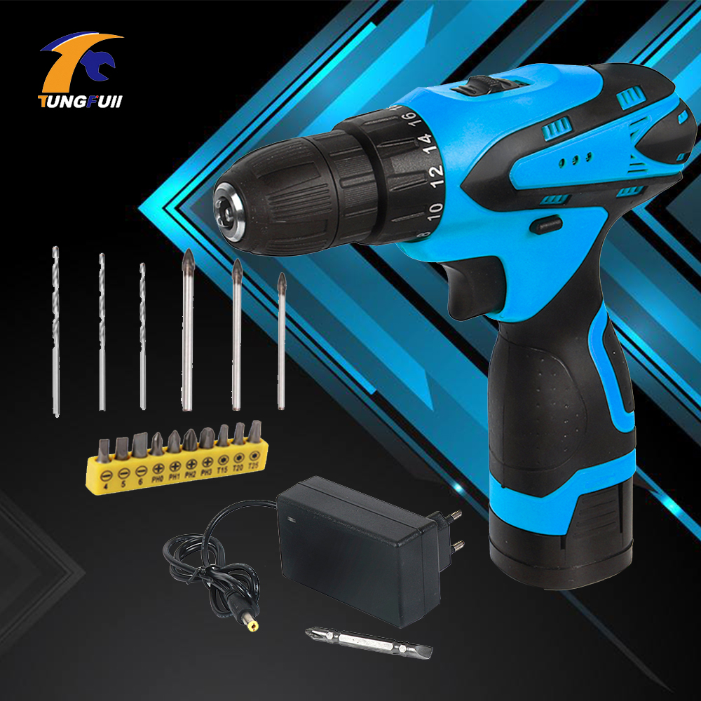 Tungfull Cordless Screwdriver Electric Drill Two-Speed Rechargeable Lithium Battery Electric Screwdriver With 16pcs Bits 16.8V
