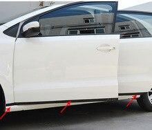 цена на 6pcs for polo 2011-2017 Door Side bar Body collision avoidance Decorative strip Stainless steel