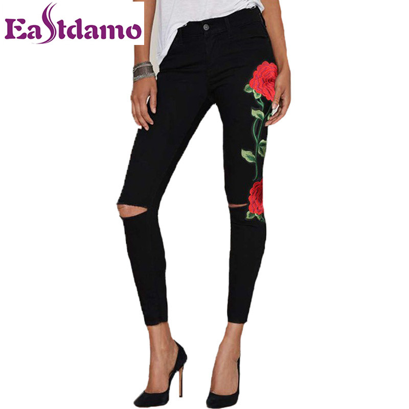 Eastdamo Embroidered Jeans for Women  Flowers Trousers High Waist Sexy Ripped Hole Jeans  Ladies Plus Size Skinny Denim Pants