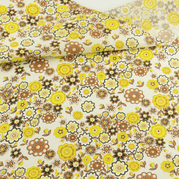 2016 New Brown and Yellow Flowers Designs Home Textile Cotton Fabric Fat Quarter Art Work Curtain Tida Tecido Sewing Doll Cloth craft