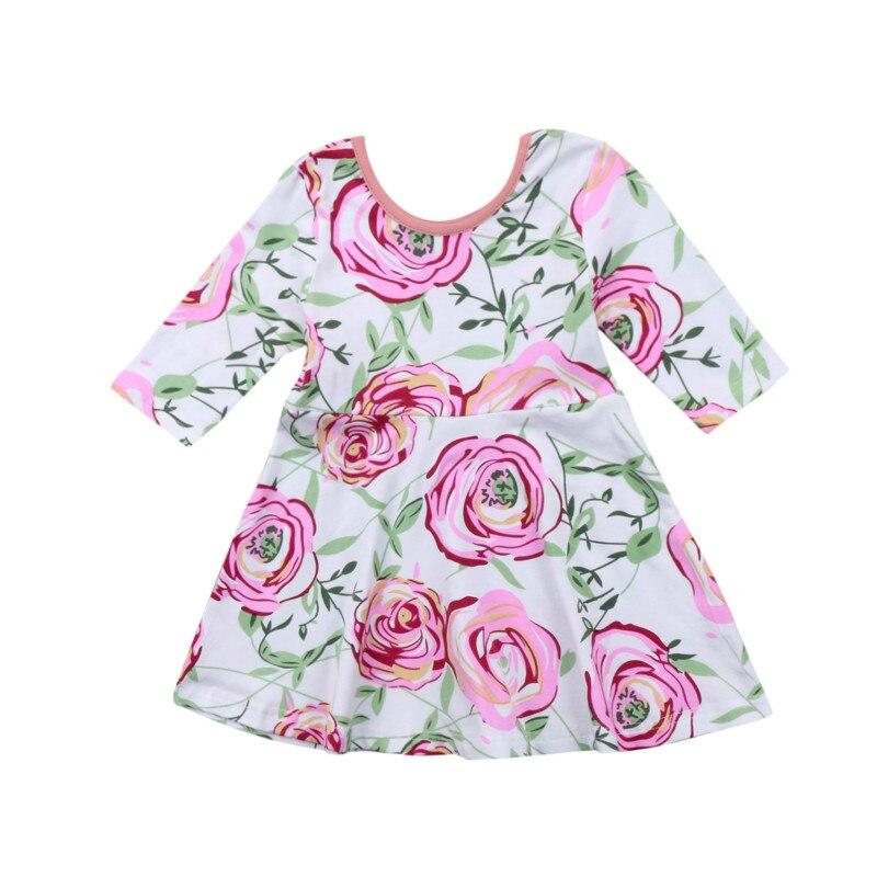 Милый ребенок Обувь для девочек Младенческая малышей Роуз цветочные длинным рукавом хлопковое мини-платье-пачка с цветами праздничное пла...