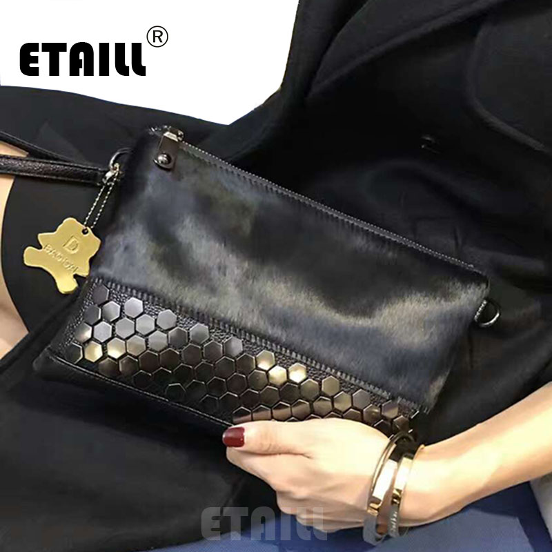 ETAILL 2018 Studded Horsehair Genuine Leather Envelope Rivet Clutch Famous Luxury Real Leather Bag Women Messenger Celebrity Bag