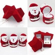 Модное милое кольцо, серьги, ожерелье, шкатулка для ювелирных изделий, фланелевая Подарочная коробка на День святого Валентина, милый Санта Клаус